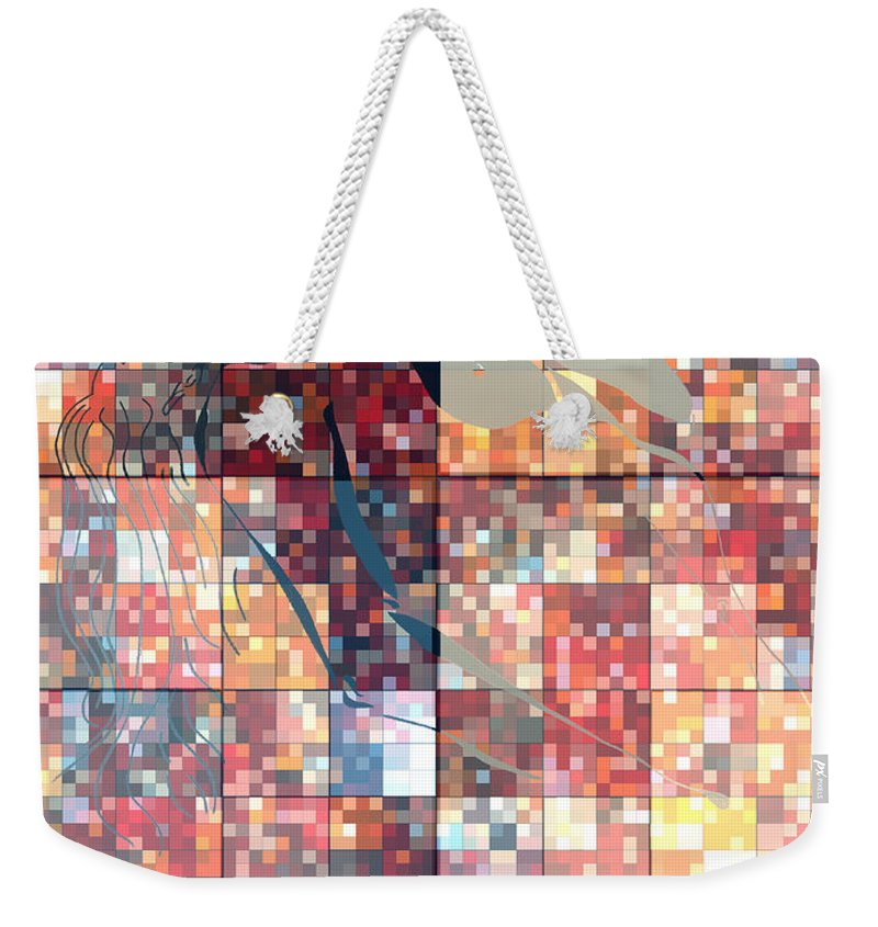 Weekender Tote Bag featuring the photograph Take Me Geometric Red by Mayhem Mediums