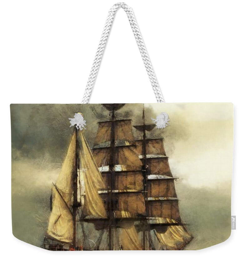 Marcin Weekender Tote Bag featuring the digital art Tall Ship by Marcin and Dawid Witukiewicz