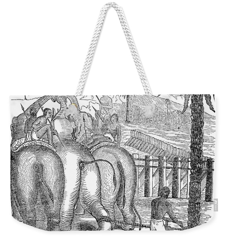 19th Century Weekender Tote Bag featuring the photograph Taming Wild Elephants by Granger