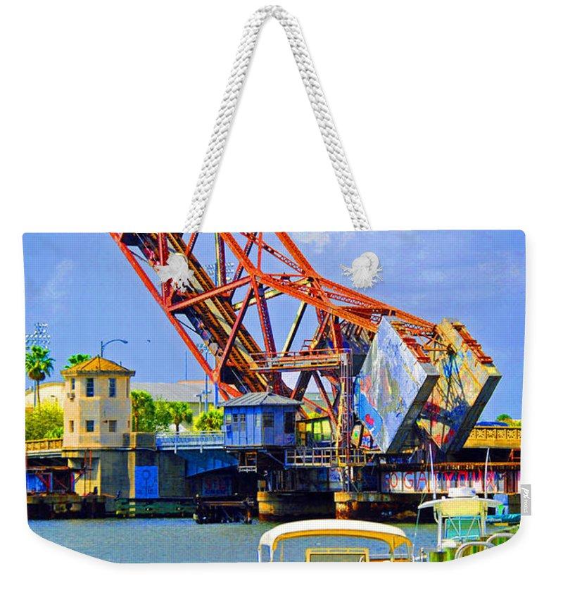 Tampa Weekender Tote Bag featuring the photograph Tampa Drawbridge by Jost Houk