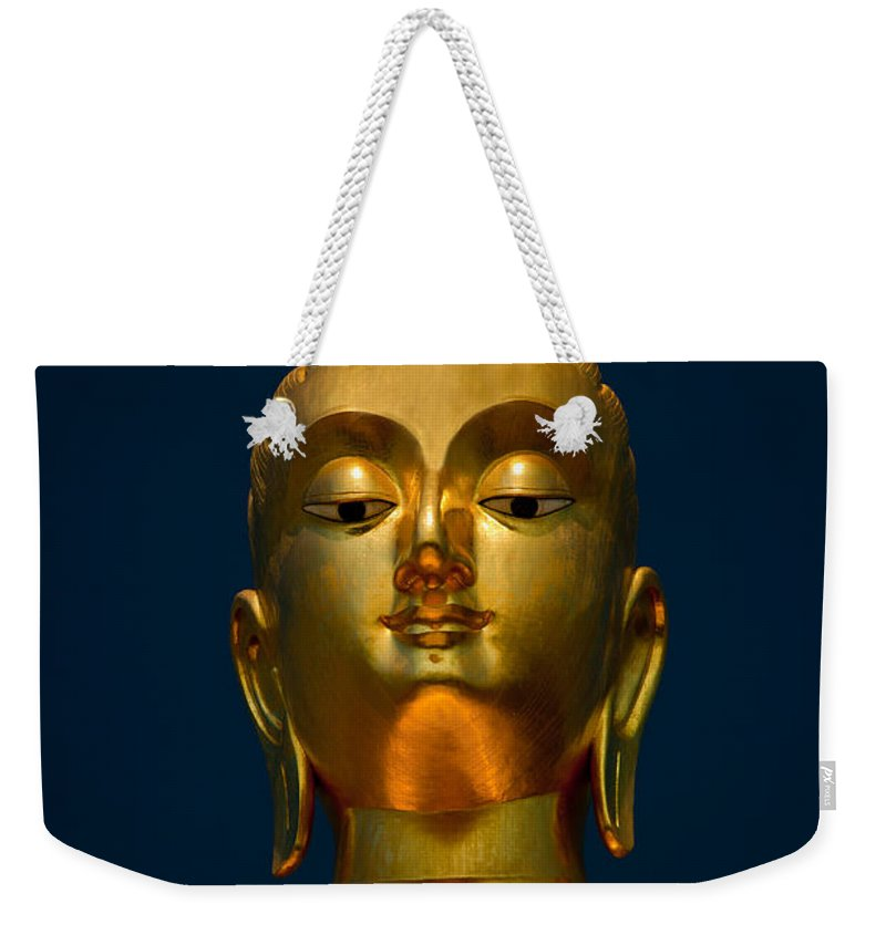 Temple Weekender Tote Bag featuring the photograph Tangsai Buddha by Adrian Evans