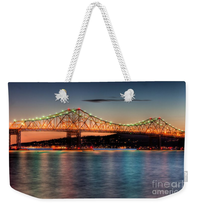 Clarence Holmes Weekender Tote Bag featuring the photograph Tappan Zee Bridge Twilight I by Clarence Holmes