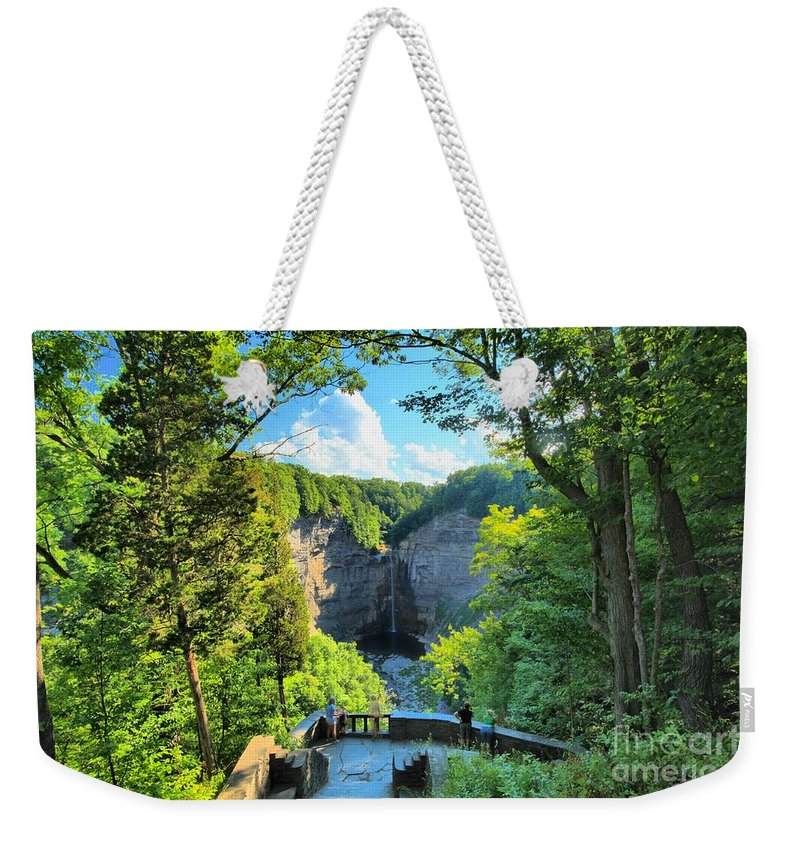 Taughannock Falls State Park Weekender Tote Bag featuring the photograph Taughannock Falls Overlook by Adam Jewell