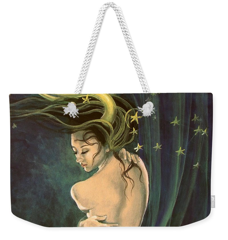Art Weekender Tote Bag featuring the painting Taurus From Zodiac Series by Dorina Costras