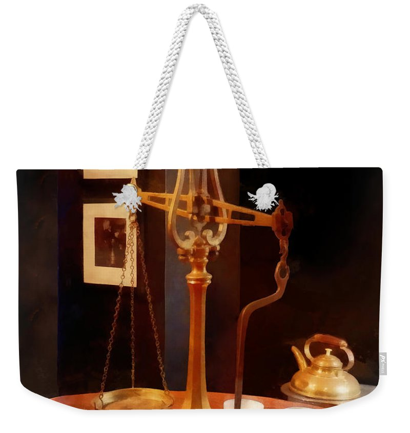 Tea Scale Weekender Tote Bag featuring the photograph Tea Scale by Susan Savad
