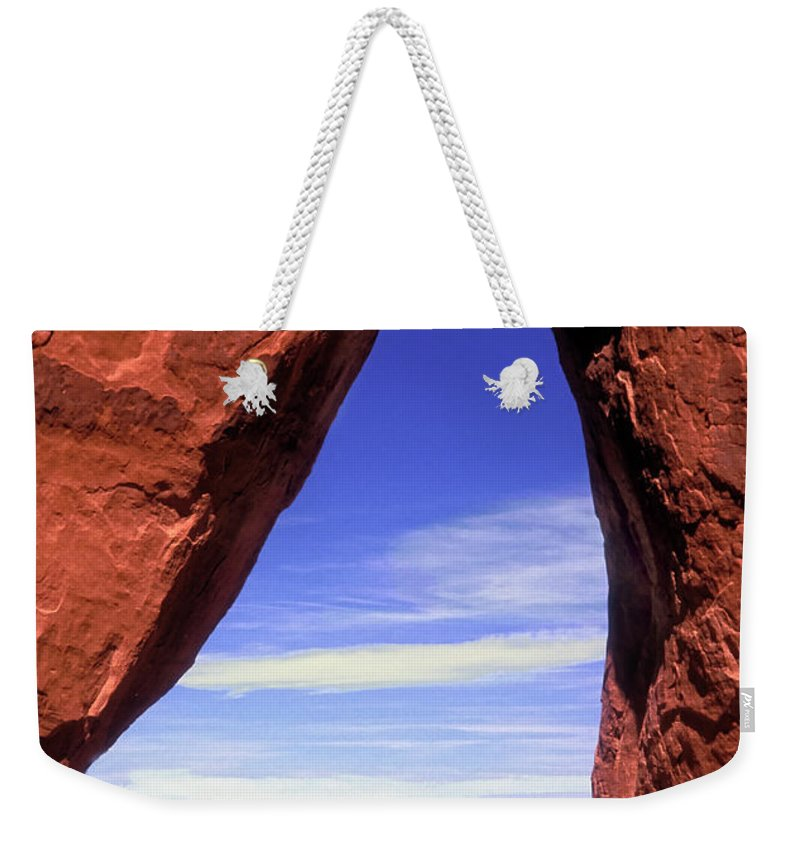 Teardrop Arch Weekender Tote Bag featuring the photograph Teardrop Arch Monument Valley by Dave Mills