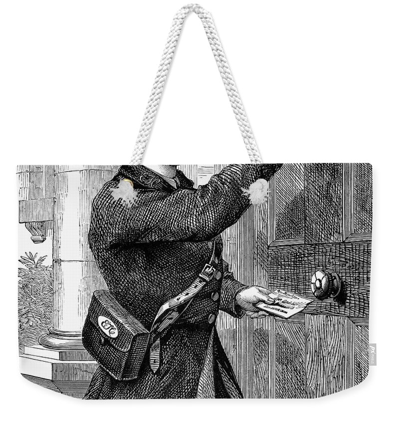 1869 Weekender Tote Bag featuring the photograph Telegraph Messenger, 1869 by Granger