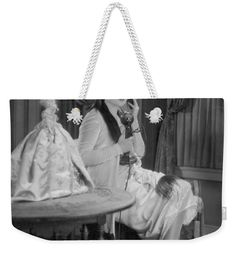 1920s Weekender Tote Bag featuring the photograph Telephone Call, 1920s by Granger