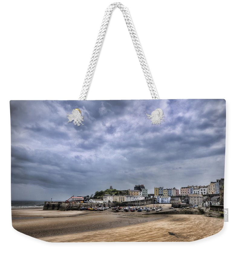 Tenby Pembrokeshire Weekender Tote Bag featuring the photograph Tenby Harbour Low Tide by Steve Purnell