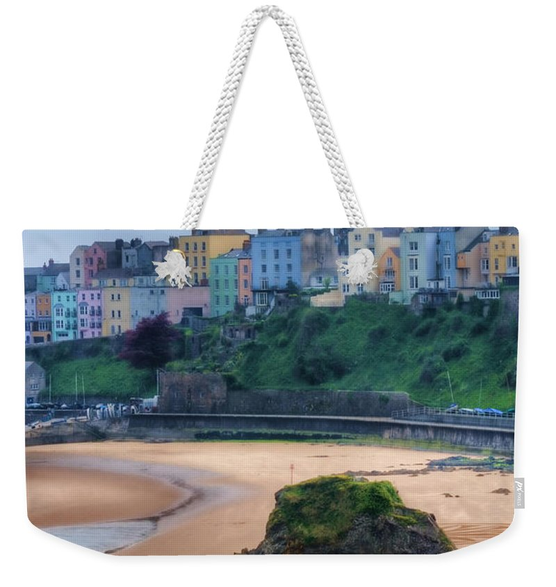 Tenby Weekender Tote Bag featuring the photograph Tenby Over North Beach Painted by Steve Purnell