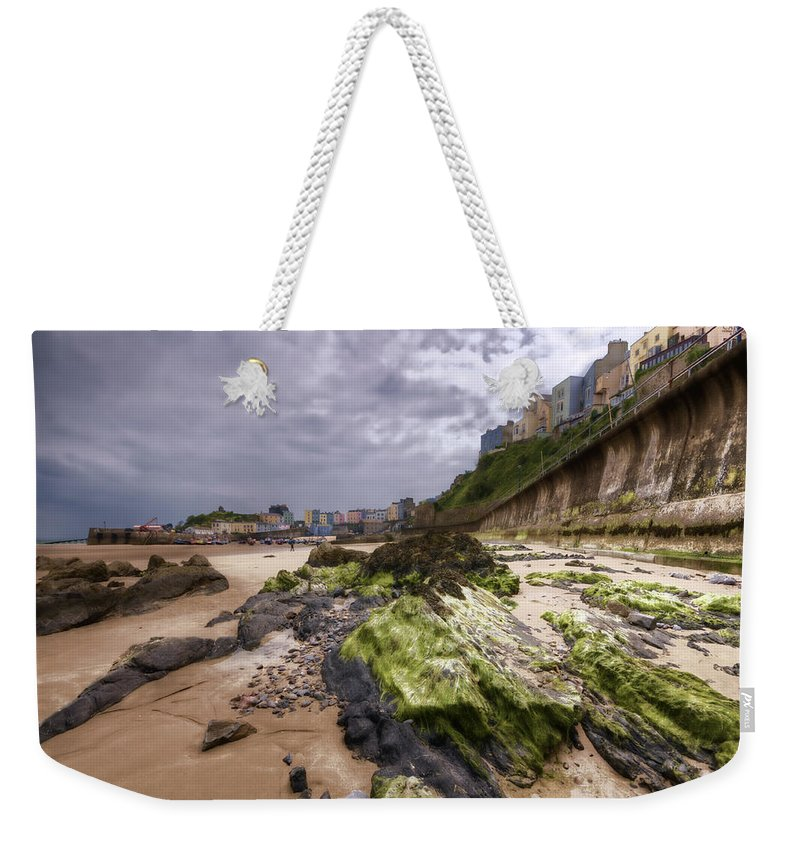 Tenby Pembrokeshire Weekender Tote Bag featuring the photograph Tenby Rocks Painted by Steve Purnell