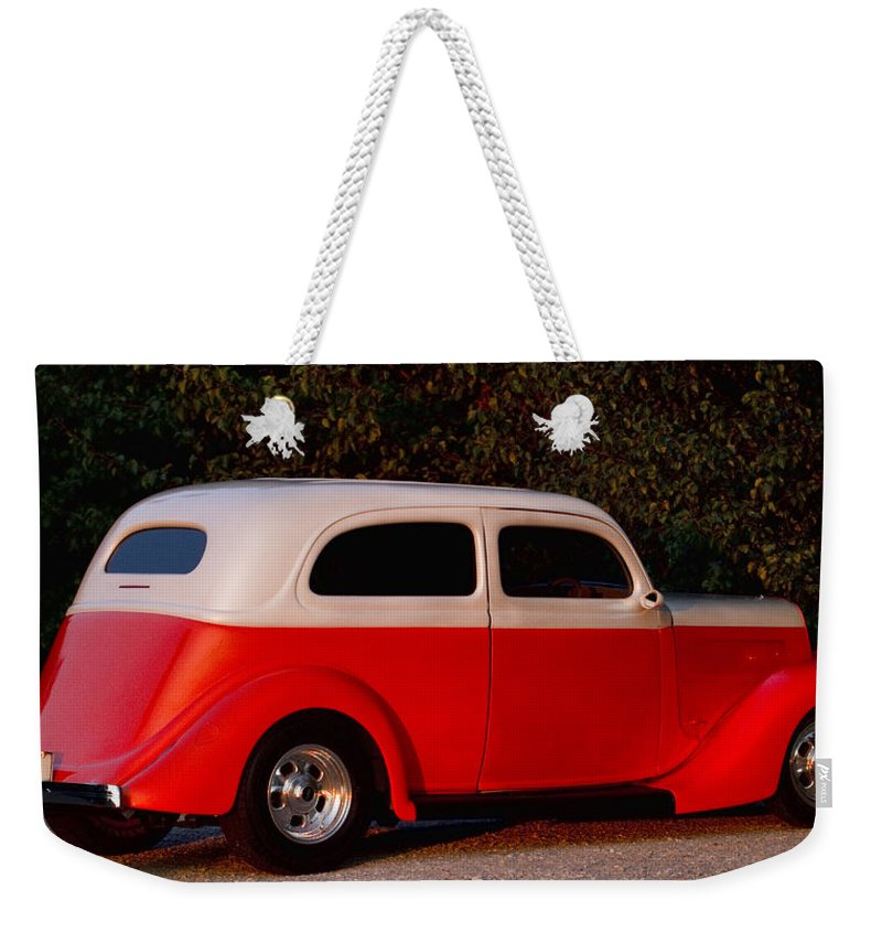 Vols Weekender Tote Bag featuring the photograph Tennessee Vols Fan Riding In Classic Style by Kathy Clark