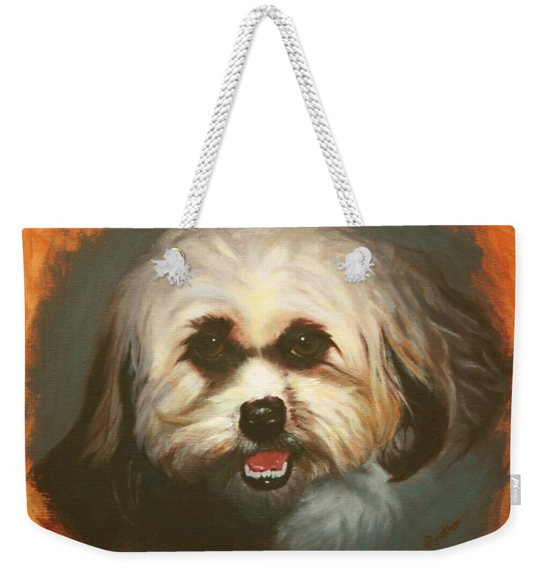 Dog Weekender Tote Bag featuring the painting Bright Eyes by Candy Prather