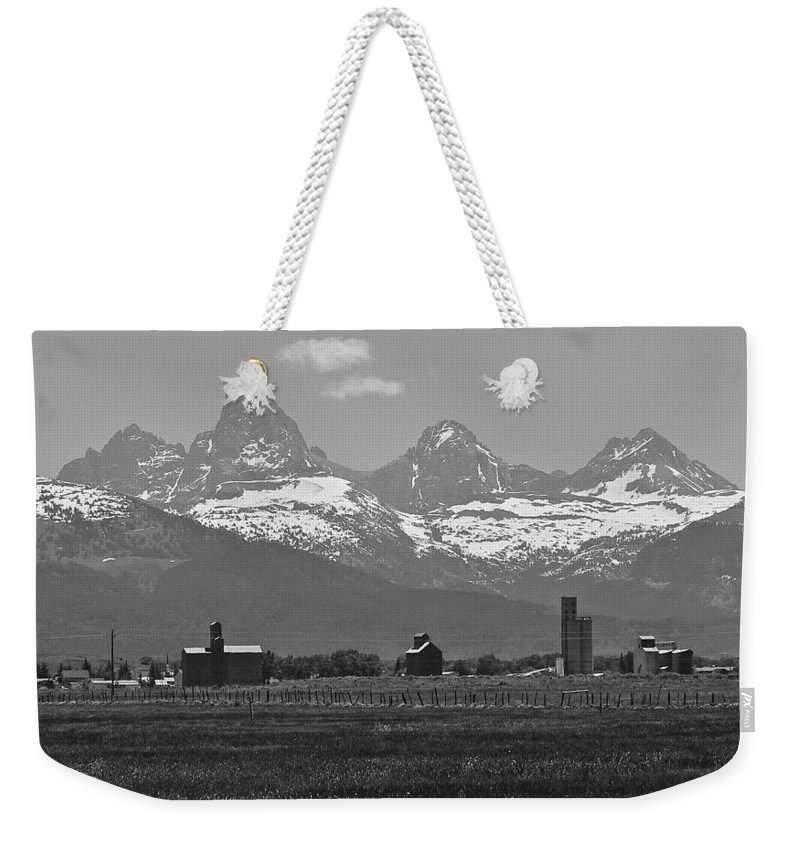 Mountains Weekender Tote Bag featuring the photograph Tetonia Grain Elevators by Eric Tressler