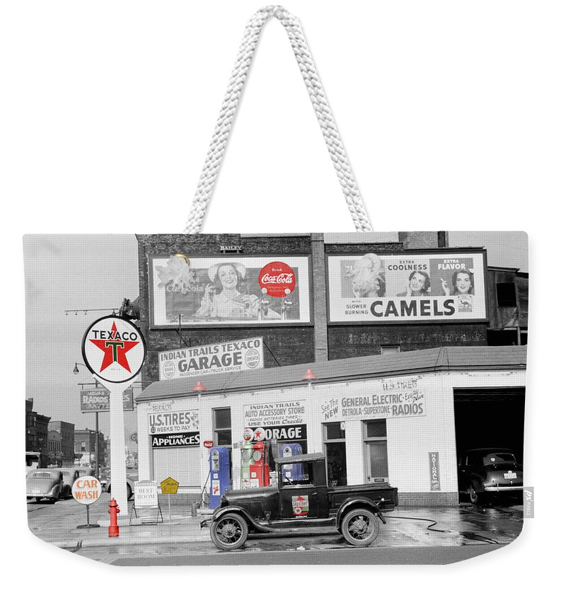 Gas Station Weekender Tote Bag featuring the photograph Texaco Station by Andrew Fare