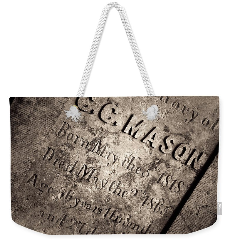 Grave Weekender Tote Bag featuring the photograph Tcm - C.c. Mason Grave by Trish Mistric