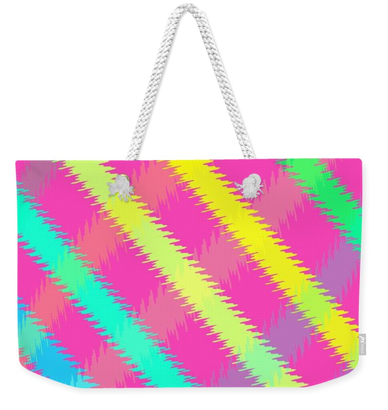 Textured Check (digital) By Louisa Knight (contemporary Artist) Weekender Tote Bag featuring the digital art Textured Check by Louisa Knight