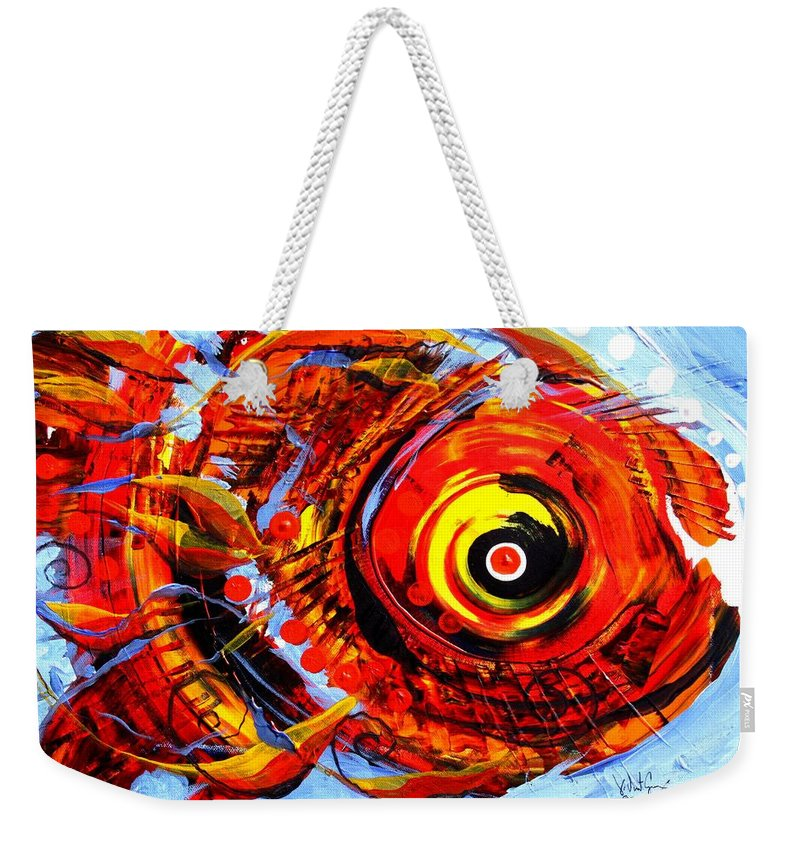 Fish Weekender Tote Bag featuring the painting Textured Red Fish by J Vincent Scarpace