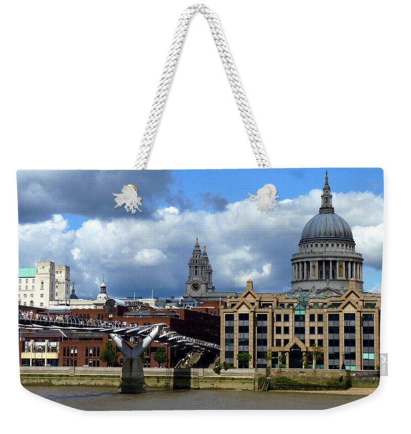 Thames Weekender Tote Bag featuring the photograph Thames River Panorama by Carla Parris
