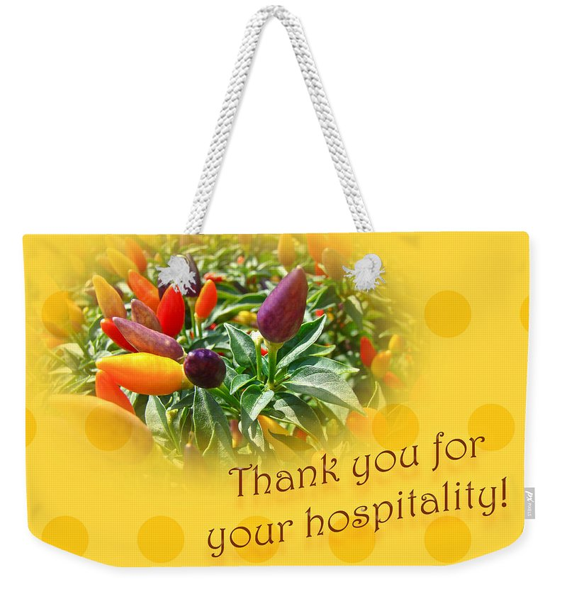 Thanks Weekender Tote Bag featuring the photograph Thank You For Your Hospitality Greeting Card - Decorative Pepper Plant by Mother Nature
