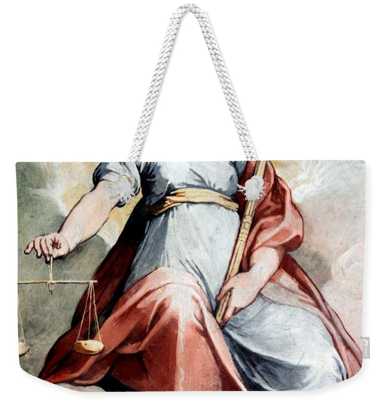 Justice Weekender Tote Bag featuring the photograph The Angel Of Justice by Munir Alawi