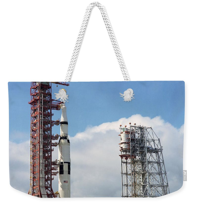 1969 Weekender Tote Bag featuring the photograph The Apollo 12 Space Vehicle At Kennedy by Stocktrek Images