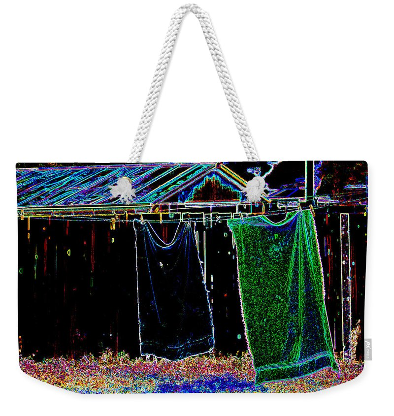 Towels Weekender Tote Bag featuring the photograph The Back Yard by Charles Benavidez