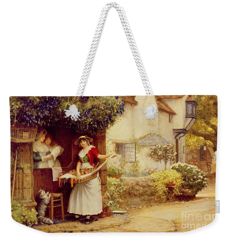 Women; Cottage; Pedlar; Wisteria; Village Life; Cat; Customer; Customers; Birdcage; Commerce; Trade; Traveller; Doorway; Victorian; Selling Songs Weekender Tote Bag featuring the painting The Ballad Seller by Robert Walker Macbeth