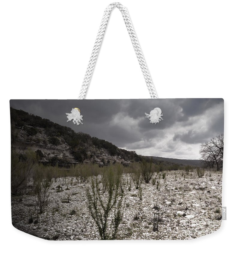 River Weekender Tote Bag featuring the photograph The Bank Of The Nueces River by Donna Greene