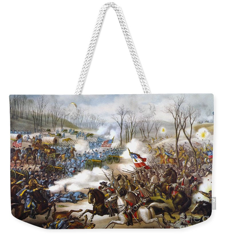 1862 Weekender Tote Bag featuring the photograph The Battle Of Pea Ridge, by Granger
