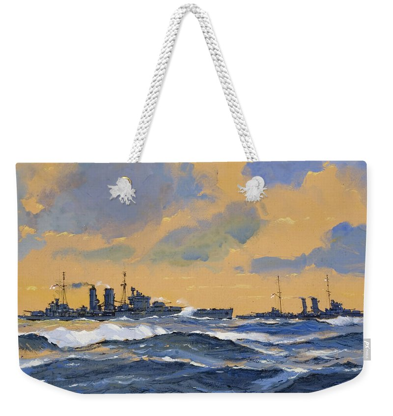 Naval; Battleships; Battleship; Royal Navy; Ww2; Wwii; Second; 2nd; 2; Cruiser Weekender Tote Bag featuring the painting The British Cruisers Hms Exeter And Hms York by John S Smith