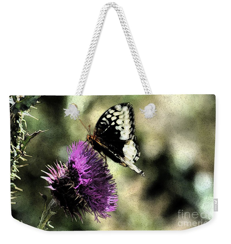 Fine Art Weekender Tote Bag featuring the photograph The Butterfly II by Donna Greene