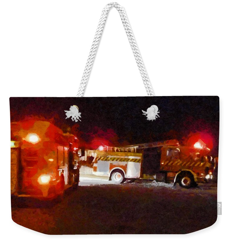 Fire Weekender Tote Bag featuring the photograph The Call Out by Steve Taylor