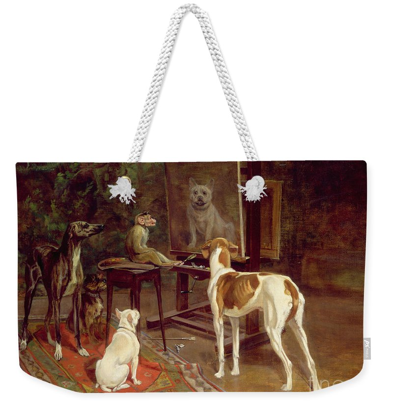 The Critics Weekender Tote Bag featuring the painting The Critics by A Vimar