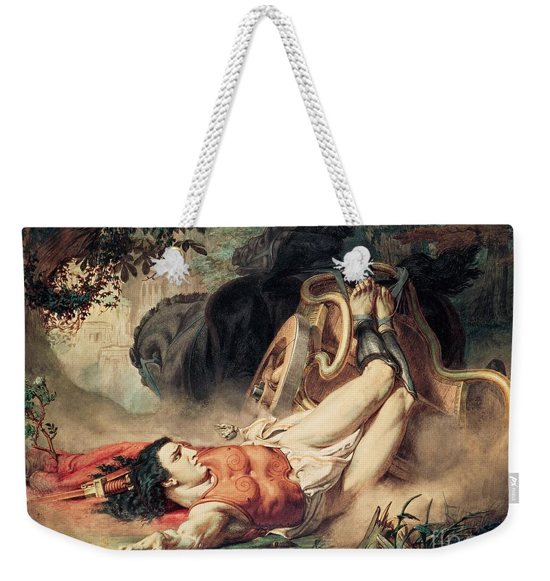 The Weekender Tote Bag featuring the painting The Death Of Hippolyte by Sir Lawrence Alma-Tadema