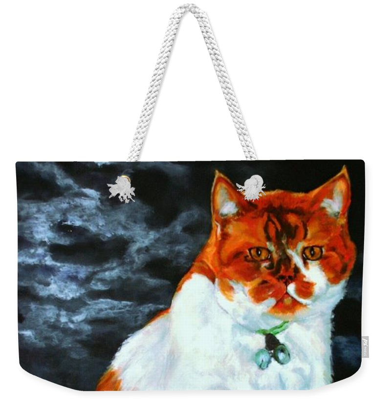 Cat Weekender Tote Bag featuring the painting The Emperor by Jolante Hesse
