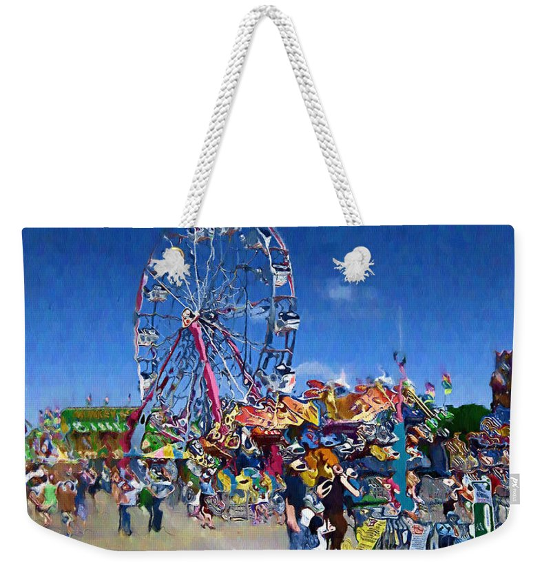 Amusement Park Weekender Tote Bag featuring the photograph The Ferris Wheel At The Fair by Mario Carini