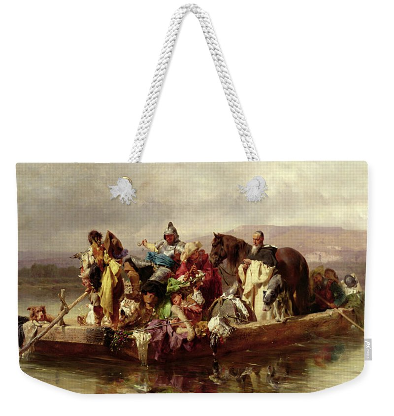 The Weekender Tote Bag featuring the painting The Ferry by Johann Till
