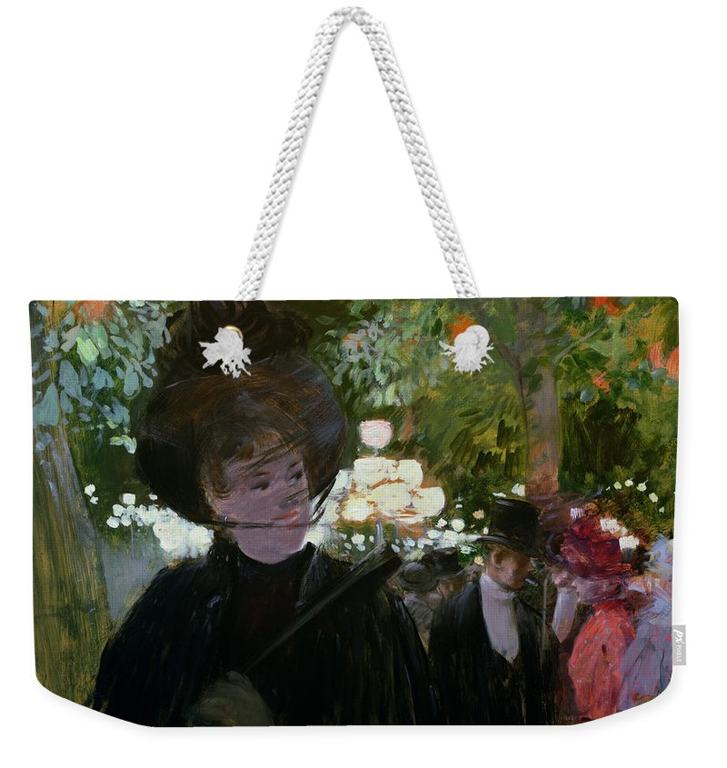 The Weekender Tote Bag featuring the painting The Garden In Paris by Jean Louis Forain