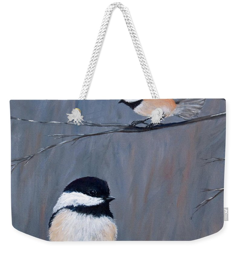 Chickade Weekender Tote Bag featuring the painting The Gathering II by Dee Carpenter