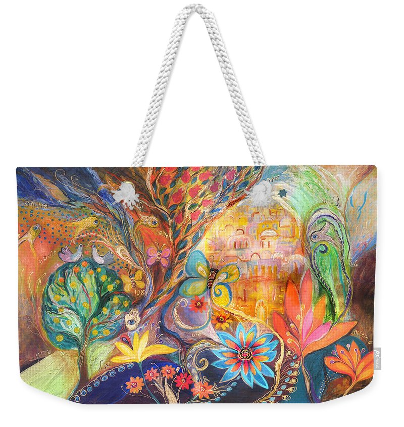 Original Weekender Tote Bag featuring the painting The Golden Jerusalem by Elena Kotliarker