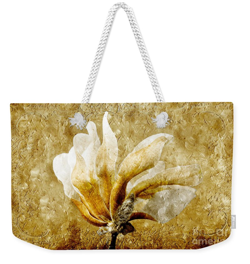 Magnolia Weekender Tote Bag featuring the photograph The Golden Magnolia by Andee Design
