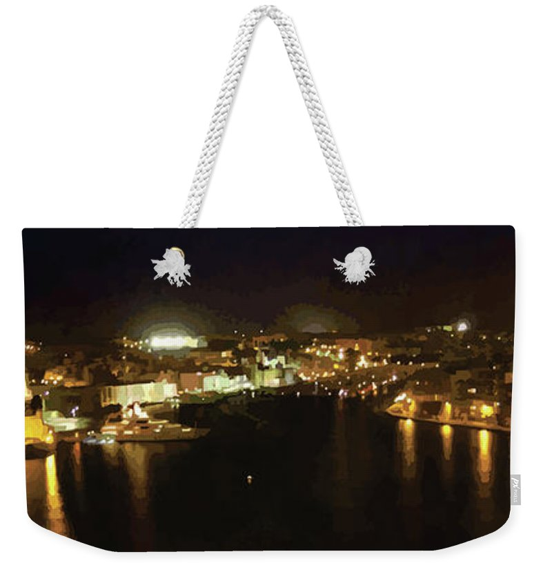 Landscape Weekender Tote Bag featuring the digital art The Grand Harbour Of Malta by Alfie Borg