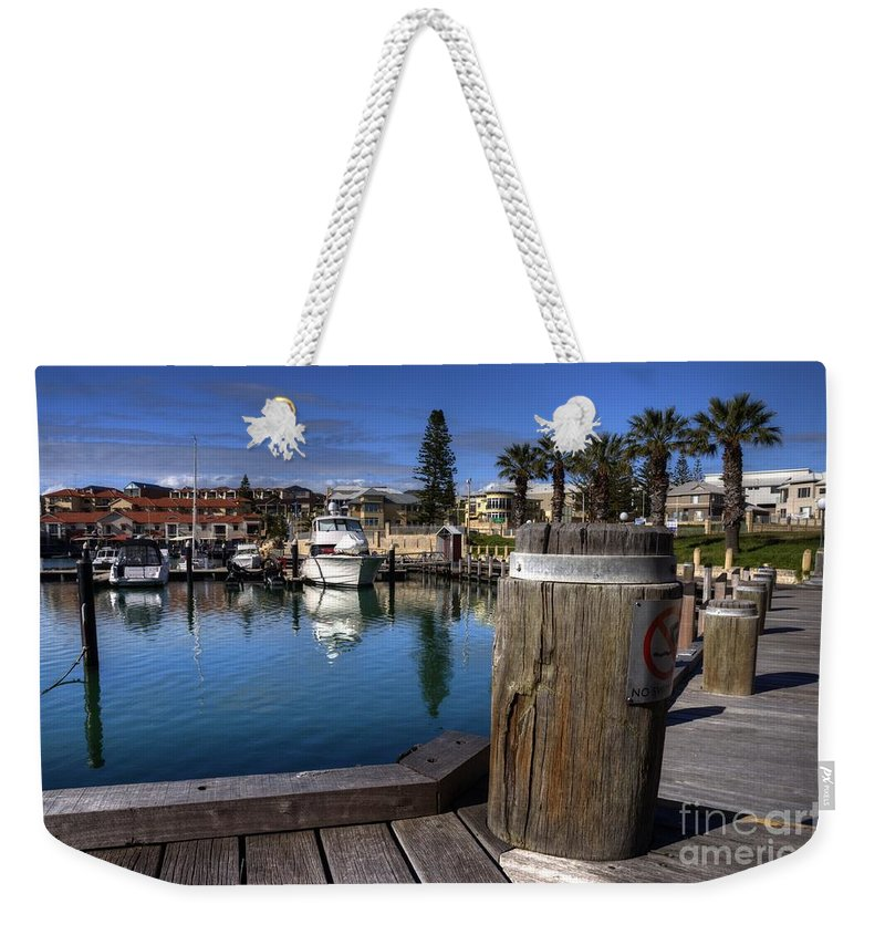 Mindaria Weekender Tote Bag featuring the photograph The Harbour At Mindarie by Rob Hawkins