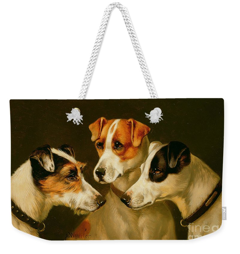 Dog Weekender Tote Bag featuring the painting The Hounds by Alfred Wheeler