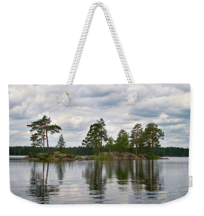 Haukkajärvi Weekender Tote Bag featuring the photograph The Island In The Middle by Jouko Lehto
