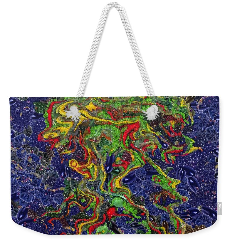 Fortuna's Digital Art Weekender Tote Bag featuring the painting The Jellyfish by Dragica Micki Fortuna