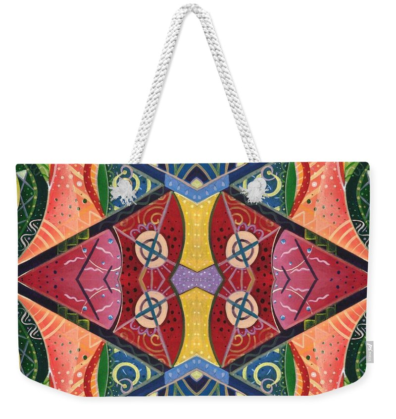 Balance Weekender Tote Bag featuring the digital art The Joy Of Design V Arrangement Hanging In The Balance by Helena Tiainen