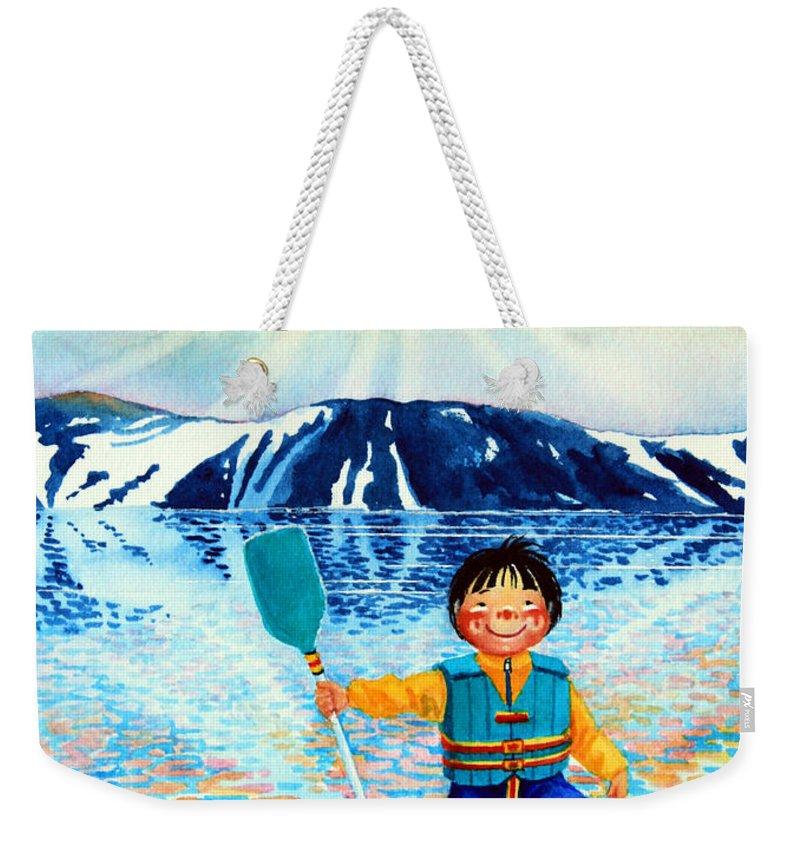 Olympic Dreams Story Weekender Tote Bag featuring the painting The Kayak Racer 5 by Hanne Lore Koehler