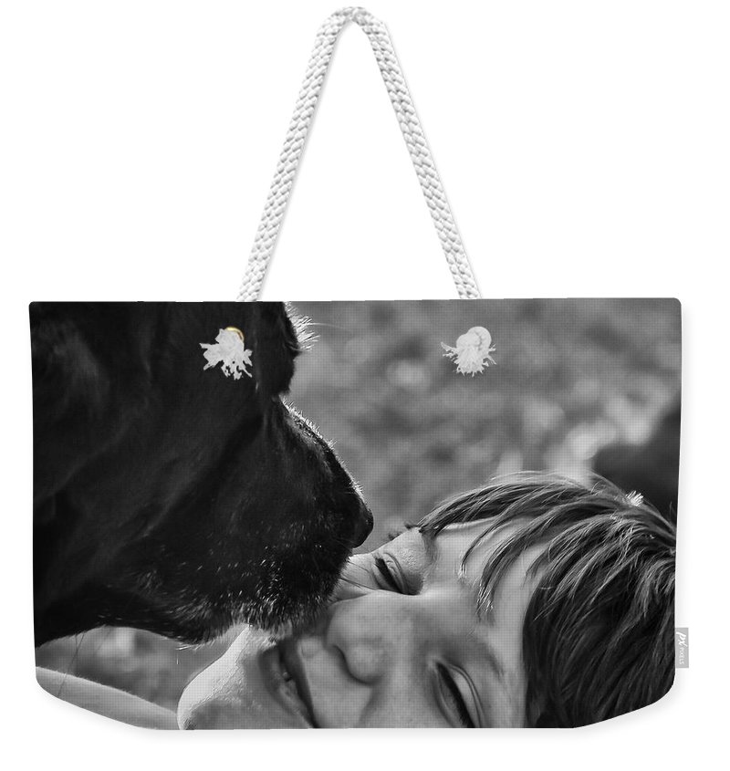 Black Lab Weekender Tote Bag featuring the photograph The Kiss by Roger Wedegis